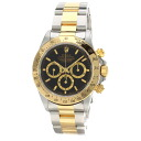 Authentic ROLEX 16523 Daytona Cosmograph Overhauled Combi Watch 18K Yellow Gold SS Mechanical Automatic Men