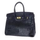 Authentic ALBERICCA  Tone design Croco embossed Handbag Synthetic leather