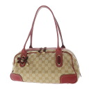 Authentic GUCCI  Ribbon motif Tote bag Canvas Leather