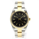 Authentic ROLEX Oyster Perpetual 14203 Overhauled Watch stainless steel 18K Yellow Gold Self-winding Men