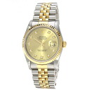 Authentic ROLEX Datejust 16233G Watch stainless steel 18K Yellow Gold Mechanical Automatic Men