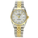 Authentic ROLEX 16233G OH already Datejust Watch stainless steel 18K Yellow Gold Mechanical Automatic Men