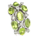 0.16ct Peridot Ring 18K White Gold  9.6