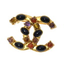 Authentic CHANEL  COCO Mark Stone Brooch Metal