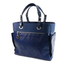 Authentic CHANEL  Paribiarittsu GM logo engraved COCO Mark Tote bag Canvas x Leather