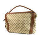 Authentic GUCCI  GG Handbag Canvas Leather