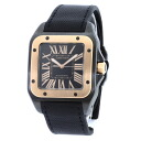 Authentic CARTIER Santos 100LM Watch 18K Pink Gold / titanium Rubber Self-winding Men