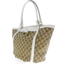 Authentic GUCCI  GGpattern logo Hardware Design Tote bag Leather x canvas