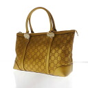 Authentic GUCCI  Shima GGpattern Heart Hardware Tote bag Leather