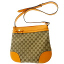 Authentic GUCCI  GGpattern hung diagonally ribbon Shoulder bag Leather x canvas