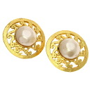 Authentic CHANEL  Fake Pearl Circle type Earring Metal