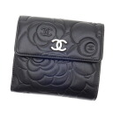 Authentic CHANEL  Double Sided Camelia (With coin purse) bi-fold wallet Leather