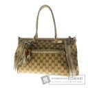 Authentic GUCCI  2way GGpattern braided handle Shoulder bag Leather x canvas