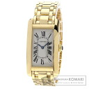 Authentic CARTIER Tank AmericanMM Overhauled Watch 18K Yellow Gold  Quartz Men