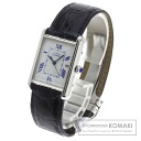 Authentic CARTIER Mast tank Watch stainless steel Leather Quartz Men