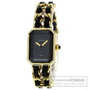 Authentic CHANEL Premiere M Watch Gold Plated Leather Quartz Ladies
