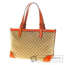 Authentic GUCCI  Design handle braided grid pattern Handbag Canvas x Leather