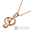 Authentic MIKIMOTO  Pearl / Diamond Necklace 18K pink gold