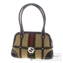 Authentic GUCCI  Webbing line Handbag Leather x canvas