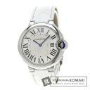 Authentic CARTIER Ballon Bleu MM Watch stainless steel Leather Quartz Men