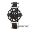 Authentic LOUIS VUITTON Q131Q Tambour in Black MM Watch stainless steel Rubber Quartz Men