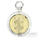 Authentic TIFFANY&Co.  Logo Design Circle type Pendant Top Silver 18K Yellow Gold
