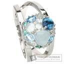 Multi-Color Stone Heart Ring 18K White Gold  6.6
