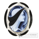 0.07ct Stone cameos Brooch 18K White Gold  16.2