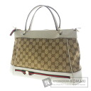 Authentic GUCCI  GGpattern 2way Handbag Leather x canvas