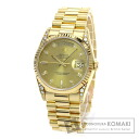Authentic ROLEX Oyster Perpetual Day-Date 18338A Overhauled Watch 18K Yellow Gold  Self-winding Men