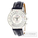 Authentic BREITLING Navitimer Monburiran A21330 Watch stainless steel Leather Self-winding Men