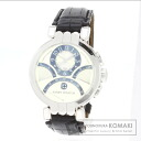 Authentic HARRY WINSTON Premiere Exhibition Center time zone Watch 18K White Gold Leather Self-winding Men