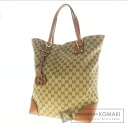 Authentic GUCCI  GGpattern logo motif with charm Tote bag Canvas x Leather