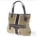 Authentic COACH  F27024 Signature Stripe Shoulder bag Canvas Patent leather