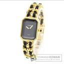 Authentic CHANEL Premiere M Watch Gold Plated Leather Quartz Ladies