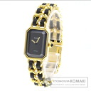 Authentic CHANEL Premiere L Watch Gold Plated Leather Quartz Ladies