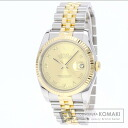 Authentic ROLEX 116 233 Champagne Rome Datejust Watch 18K Yellow Gold SS Mechanical Automatic Men