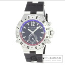 Authentic BVLGARI Diagono GMT40SVD Overhauled Watch Rubber SS Mechanical Automatic Men