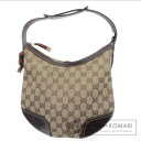 Authentic GUCCI  Ribbon GGpattern Shoulder bag Canvas Leather