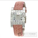 Authentic Chopard Yuaawa diamond Overhauled Watch 18K White Gold Leather Quartz Ladies