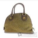 Authentic BORBONESE  Quail pattern mini Boston Handbag Suede leather x