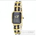 Authentic CHANEL Premiere L Watch Gold Plated Leather Quartz Ladies