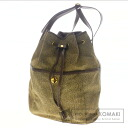 Authentic BORBONESE  Quail pattern hung diagonally Shoulder bag Suede Leather