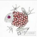 Frog motif ruby Brooch 18K White Gold  8.2