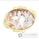 Cameo shell Brooch 18K Yellow Gold  20.5