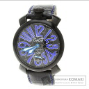Authentic Gaga Milano Manuare Watch stainless steel Leather Hand Winding Men