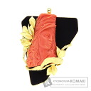 0.07ct Coral Brooch 18K Yellow Gold  42.5