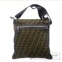 Authentic FENDI  Zucca pattern Shoulder bag Canvas