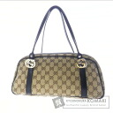Authentic GUCCI  GGpattern logo Hardware Shoulder bag Canvas Leather