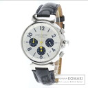 Authentic LOUIS VUITTON Tambour Chronograph Watch Leather SS Self-winding Men